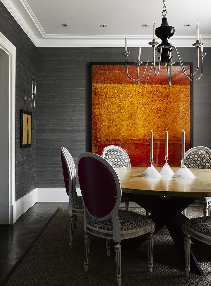 Trendy dark wood floor dining room photo in Philadelphia with gray walls