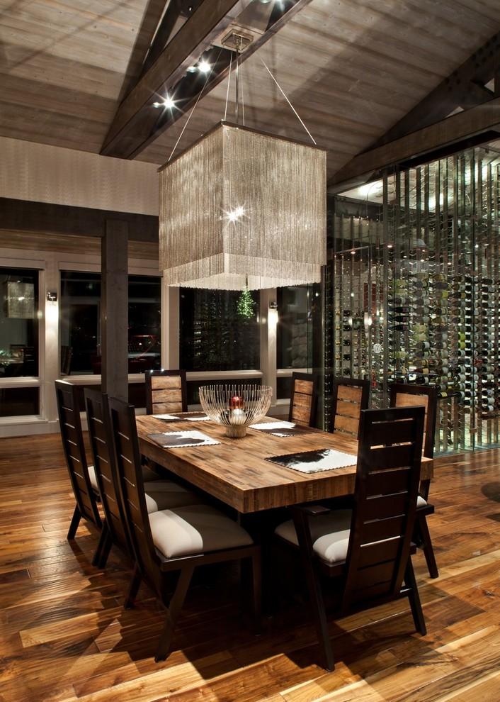 Dining room - contemporary dark wood floor and brown floor dining room idea in Salt Lake City