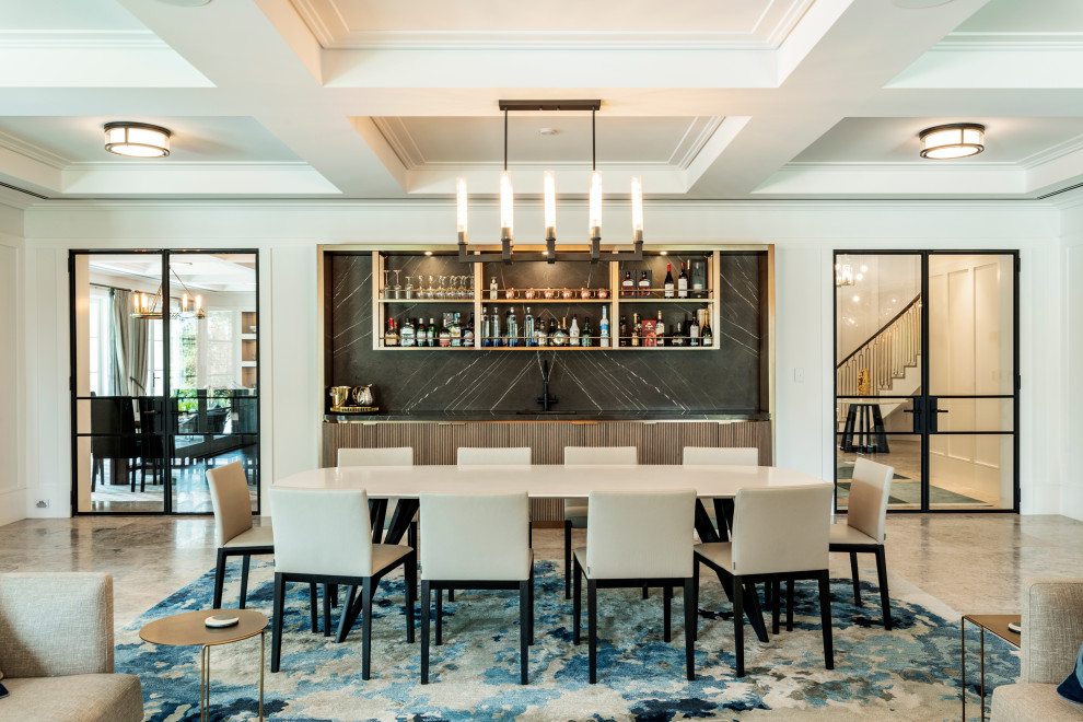 Dining room - contemporary brown floor, coffered ceiling and wall paneling dining room idea in Sydney with white walls