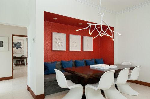The red accent wall is that tile wallpaper or a painting - Dining room wallpaper accent wall ...