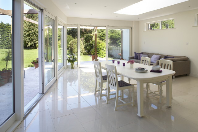 Slidig doors to the garden contemporary-dining-room