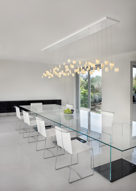 Contemporary dining room, Orchids chandelier by Galilee lighting ...