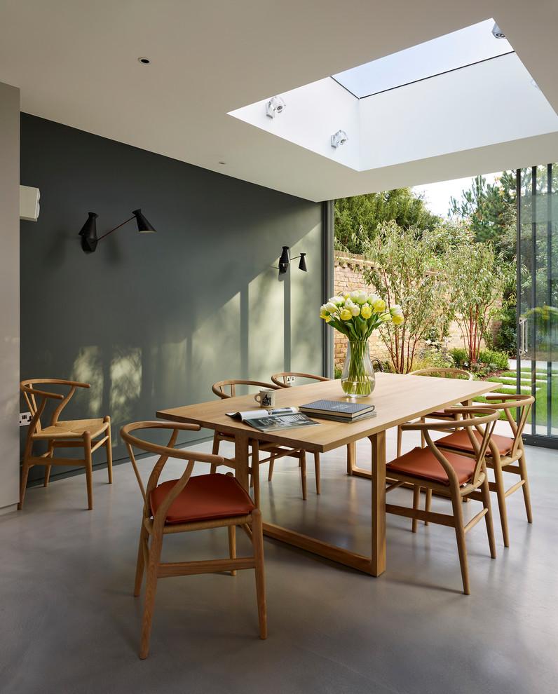 Ejemplo de comedor actual con suelo de cemento y paredes grises