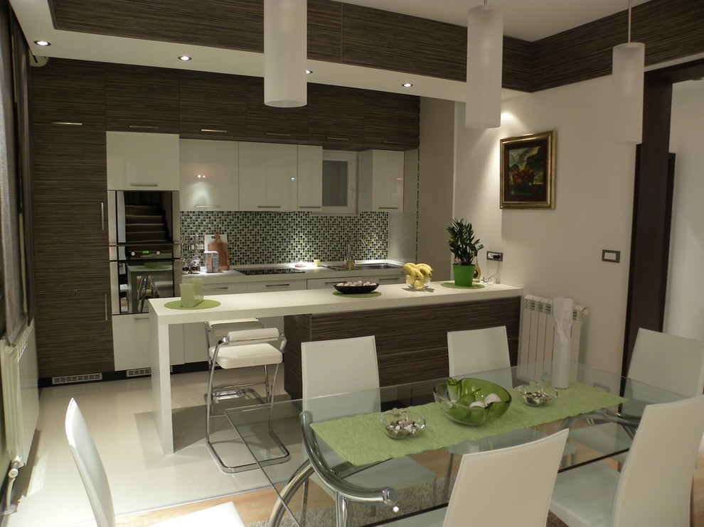 Kitchen/dining room combo - contemporary kitchen/dining room combo idea in Other