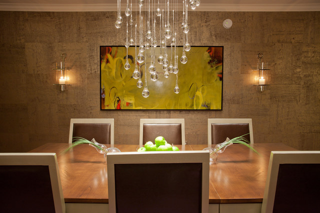 Contemporary dining room with droplet crystal chandelier and handmade wallpaper contemporary - Crystal chandelier for dining room ...