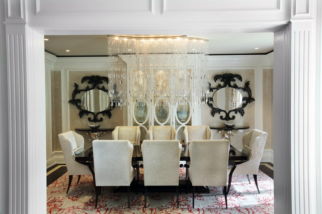 Contemporary glam dining room for Glam dining room ideas