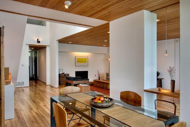 contemporary house atrium modern dining room