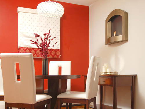 Home decorating news fabulous accent walls for Orange dining room design ideas