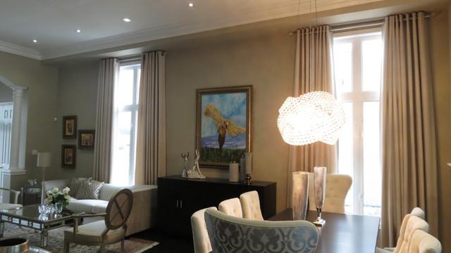Contemporary window treatments contemporary dining for Modern dining room window treatments