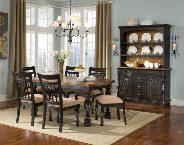Cool blue and black traditional dining room other for Cool dining rooms