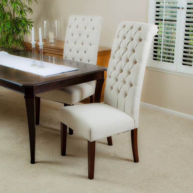 cooper tall beige dining chair set of 2 modern