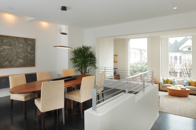 Cosmetic updates on 1980s home modern-dining-room