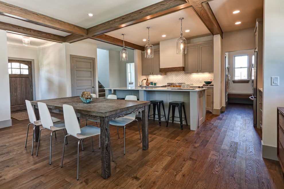 Example of a classic dark wood floor kitchen/dining room combo design in Minneapolis with white walls