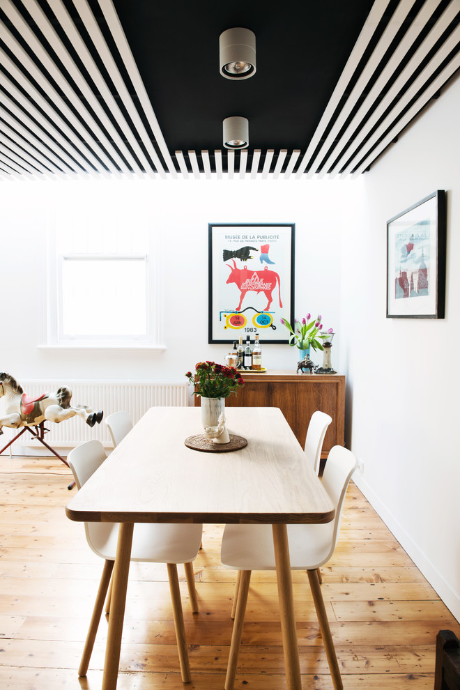 Inspiration for a mid-sized scandinavian medium tone wood floor great room remodel in Melbourne with white walls