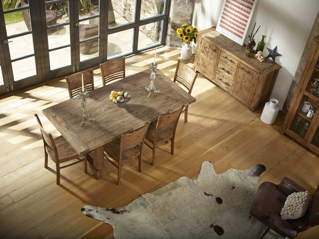 Rustic Farmhouse Dining Room Table Sets: Country Reclaimed Solid Wood Farmhouse Dining Table