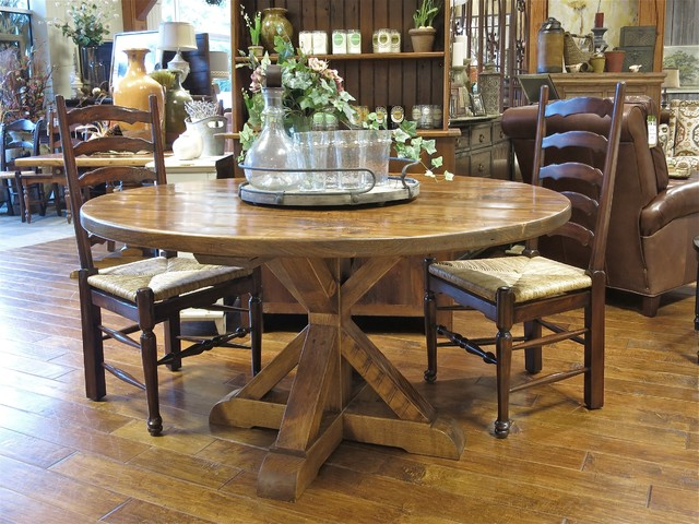 Country Willow Round Garden Pedestal Barn Wood Table Many  :  dining room from www.houzz.com size 640 x 480 jpeg 113kB