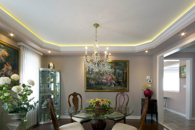 Coved LED Lighting with Stretched Ceiling Traditional Dining