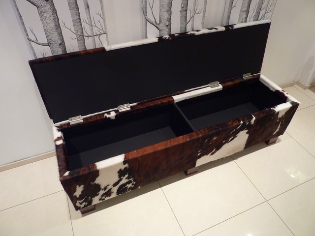 cowhide storage bench contemporary dining room