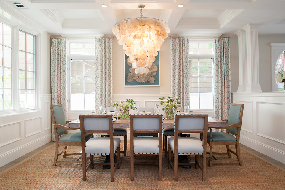 Dining room - mid-sized coastal dining room idea in Orange County with beige walls and no fireplace