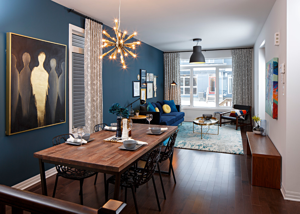 Dining room - contemporary dark wood floor dining room idea in Ottawa with blue walls and no fireplace