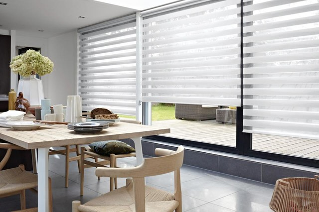 Creative Window Covering Ideas eclectic-dining-room