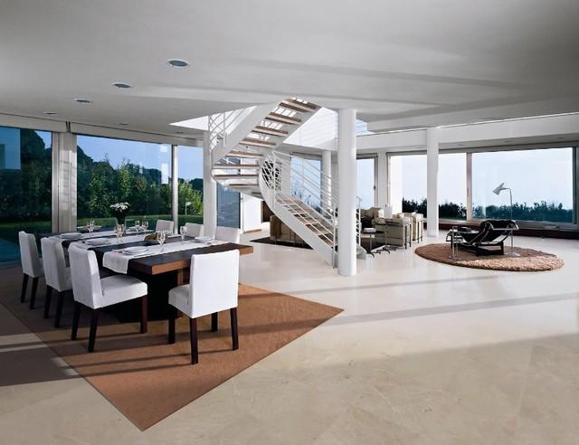 Crema Marfil Classic Marble Flooring contemporary-dining-room