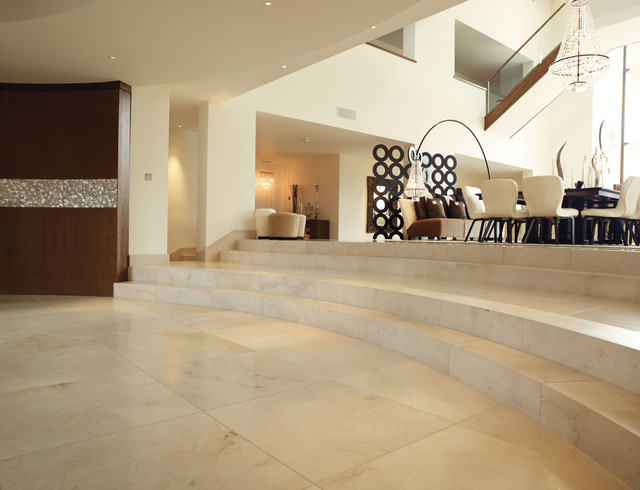 Crema Marfil Marble Floor 36 X 36 Contemporary Dining Room