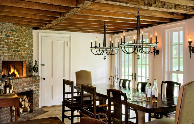 Country Dining Room Photo In New York With White Walls A Corner Fireplace And