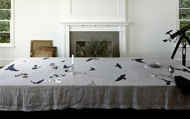 Crow Linen Tablecloth By Huddleson Traditional Dining Room