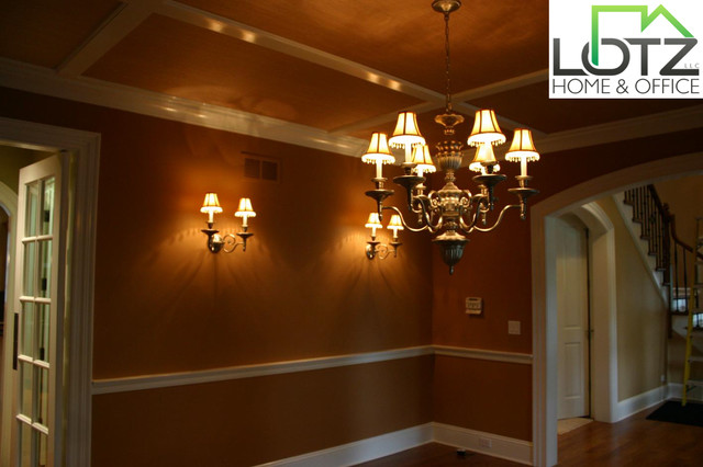 Crown Molding Installation | Chairrail Installation | Wainscoting Painting traditional-dining-room
