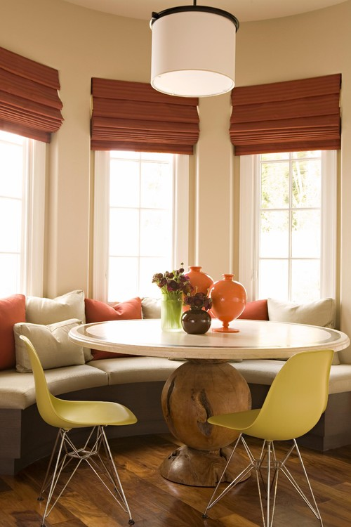 Dining room window treatment ideas be home - Ideas of window treatments for bay windows in dining room ...