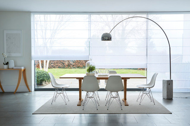 Crystal White Voile Roman Blinds Midcentury Dining Room