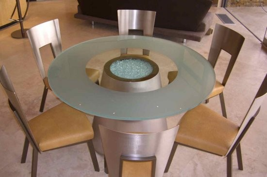 Crystalline Sphere Glass Table Top contemporary dining room