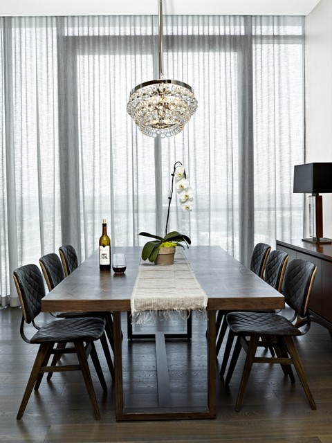 Curtains draperies contemporary dining room for Modern dining room window treatments