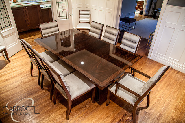 Custom Art Deco Mahogany Dining Table With Colina Art Deco Dining Chairs Mo