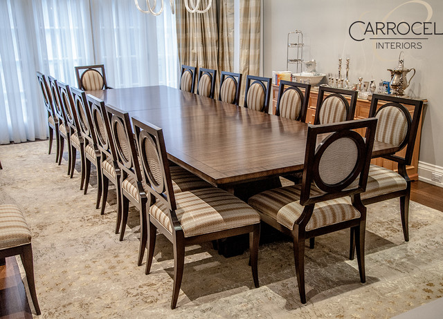 Custom Art Deco Mahogany Dining Table With Square Back Chairs Classique Salle A
