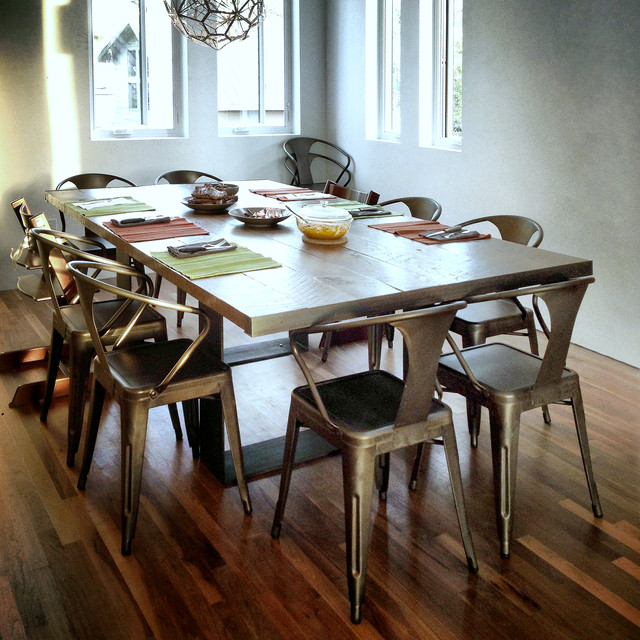 Dining Table Utilizing Reclaimed Barn Wood Planks Contemporary Dining