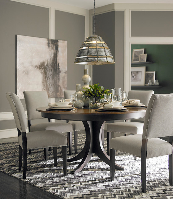 "Contemporary Dining Table Chairs: Custom Dining 60"" Round Pedestal Table By Bassett"