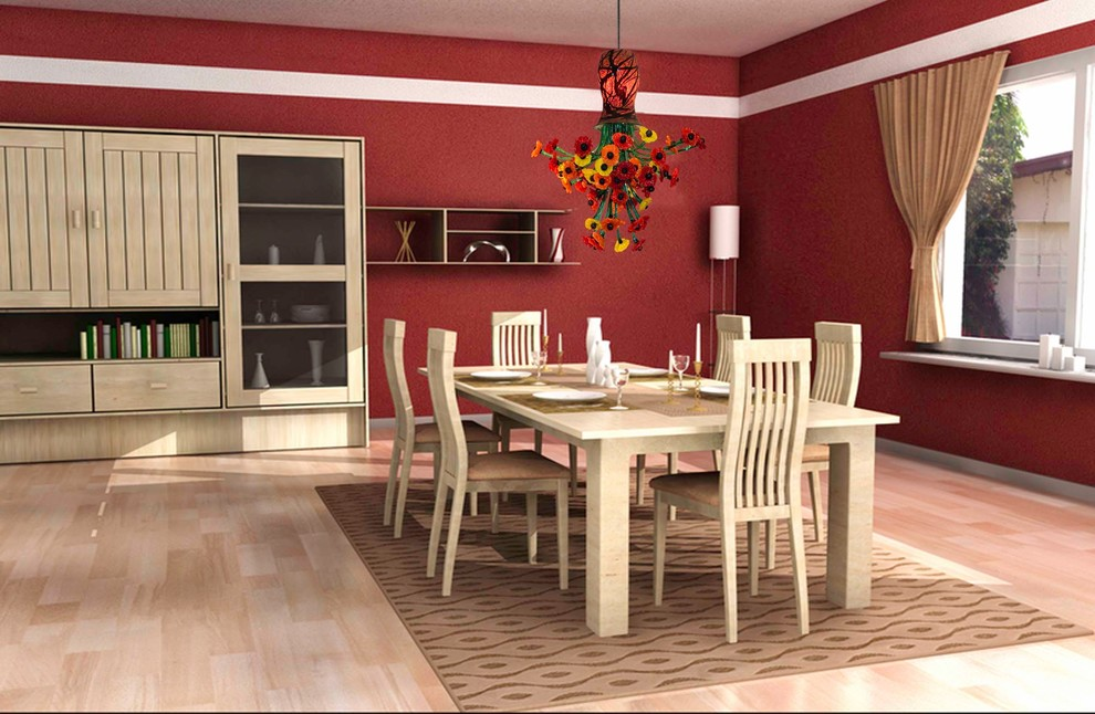 Enclosed dining room - mid-sized transitional light wood floor enclosed dining room idea in DC Metro with red walls