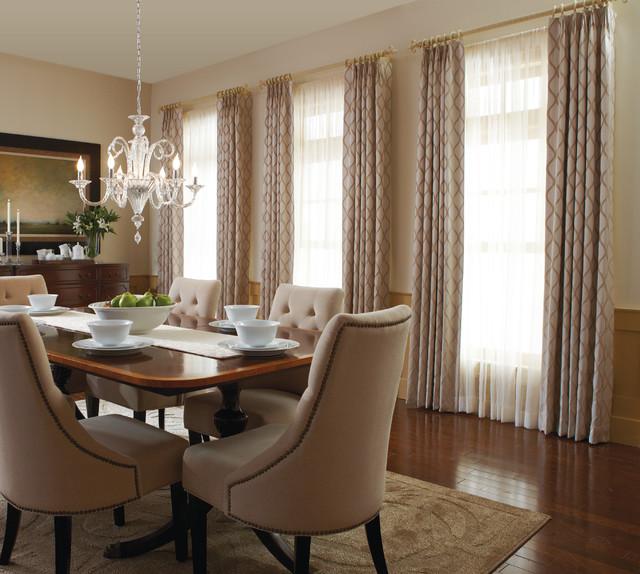 custom drapery with sheers traditional dining room orange county