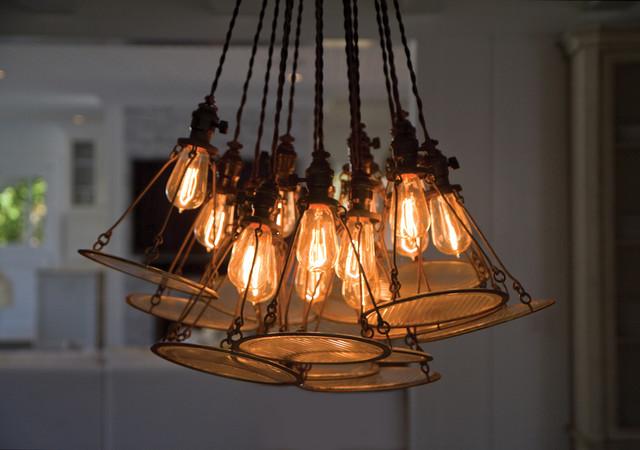 Custom Edison Bulb & Vintage Headlamp Chandelier contemporary-dining-room