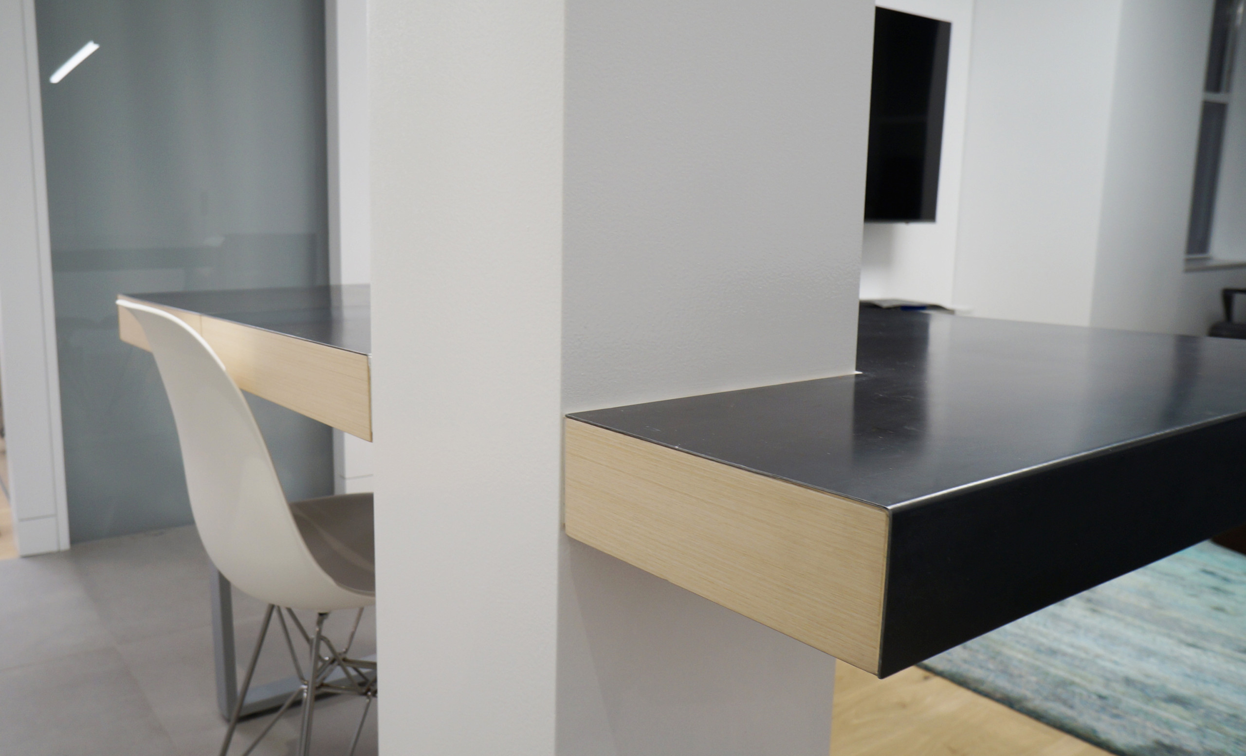 Custom Expandable Built-in Dining Table with Steel Top