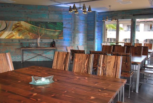 beautiful custom tables and chairs designed for a local seaside resort