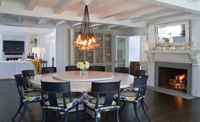 Custom Headlamp Chandelier Custom Whitewashed Round Dining Table - Round white washed dining table