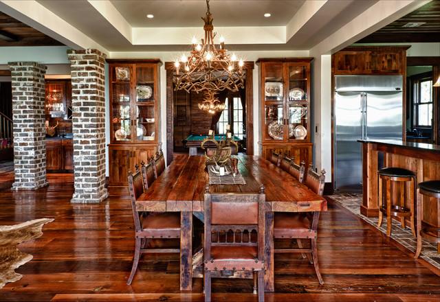 Custom Home rustic-dining-room
