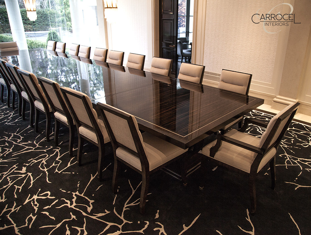 Custom Made Makassar Ebony Art Deco Style Grand Dining Table Modern Dining Room Toronto By Carrocel Interiors