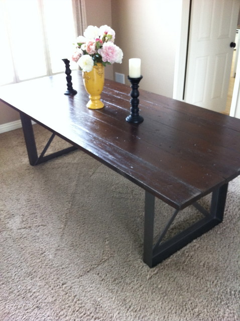 Custom Metal base and wood top dining table eclectic-dining-room