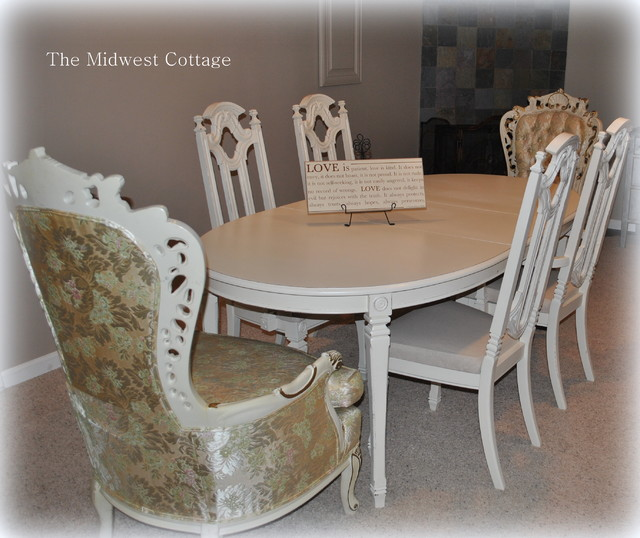 custom painted dining room set in creamy white traditional dining room