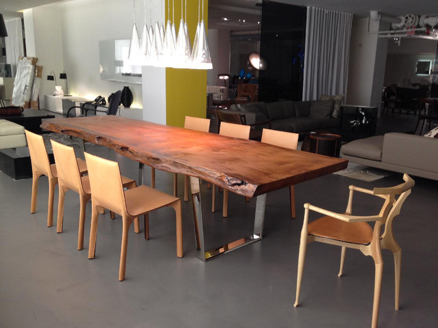 Custom Redwood Slab Table Dining Room New York By