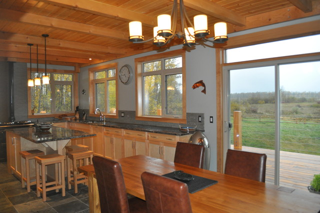 Custom Timber Frame Hybrid - traditional - dining room - edmonton